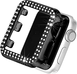 Secbolt Bling Case Compatible with Apple Watch 38mm, Full Cover Bumper Screen Protector for iWatch Series 3 2 1 (Black-38mm)