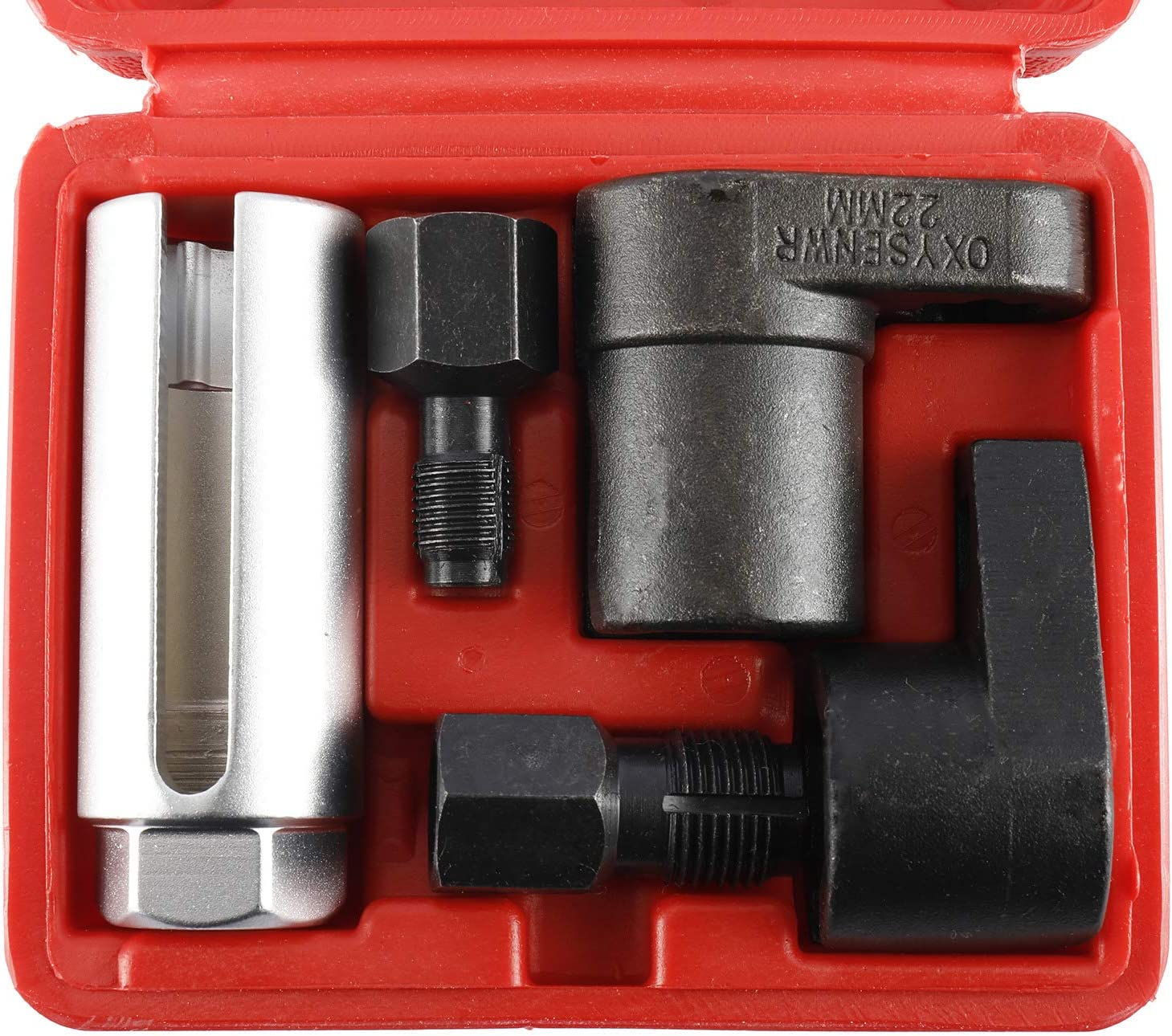 KUNTEC 5 PCS Oxygen Sensor Socket Offset Wrench Remover Tool and Thread Chaser Wrench Set