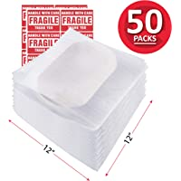 enKo 12 x 12 inch (50-Pack) Foam Wrap Pouches Cup Plates for Moving Shipping Packing - 20 Fragile Stickers Labels