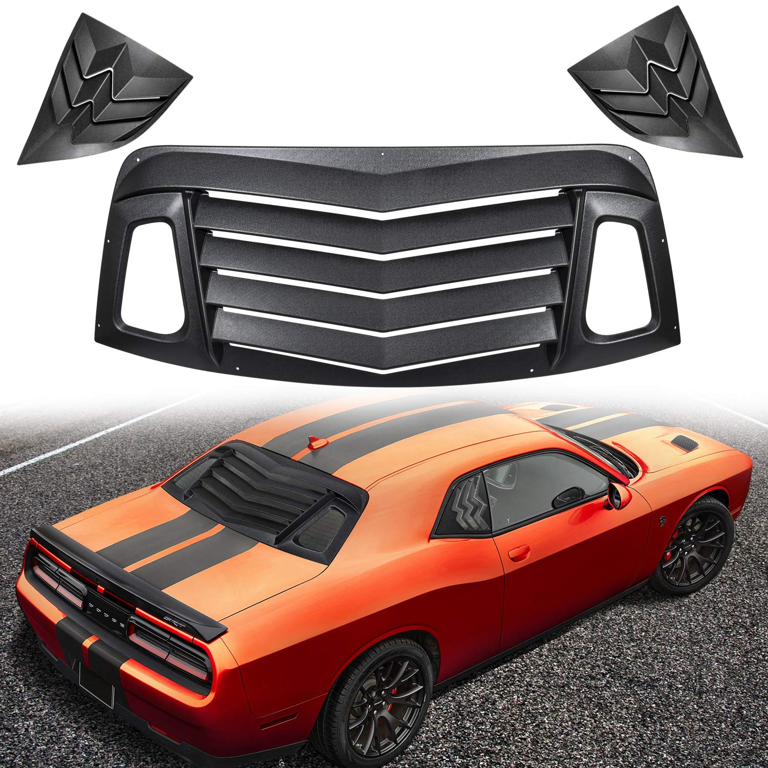Danti Rear and Side Window Louvers Sun Shade Cover for 2008-2019 Dodge Challenger