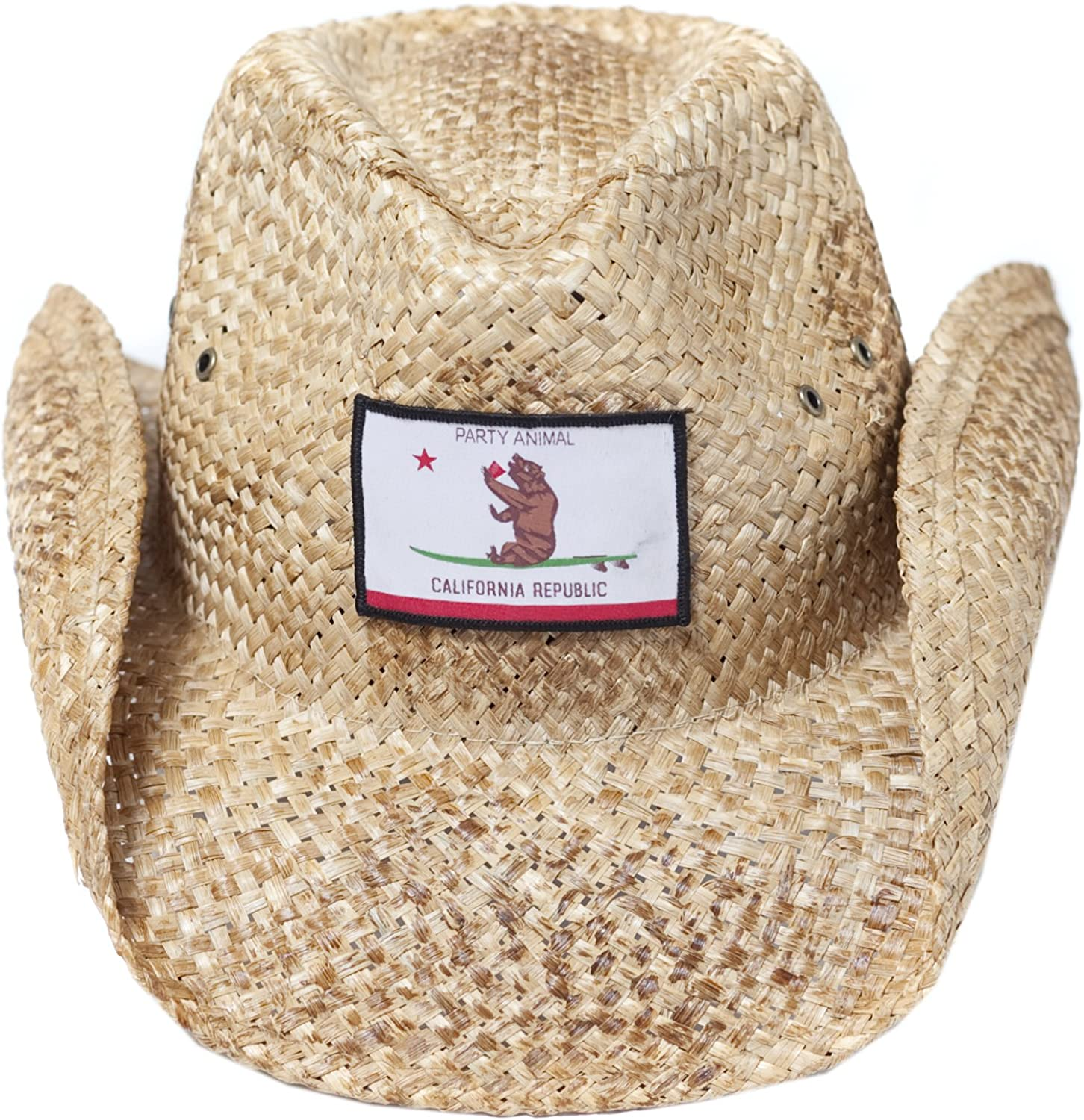 Peter Grimm Party Animal Straw Cowboy Hat for Men with California Republic Bear