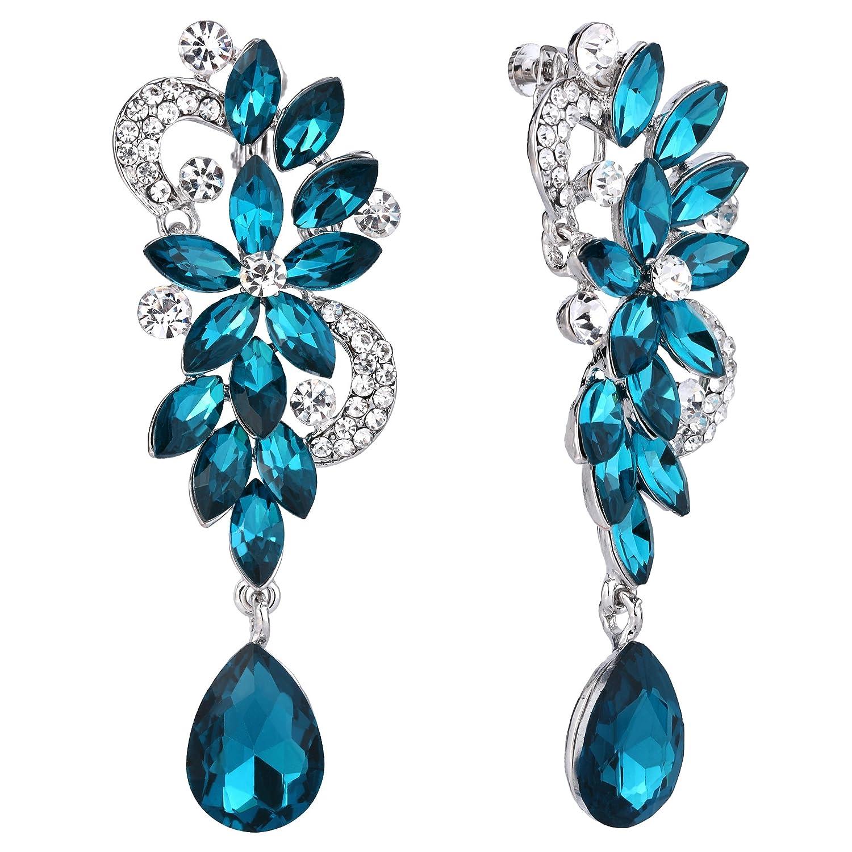 BriLove Women's Bohemian Boho Crystal Flower Wedding Bridal Chandelier Teardrop Bling Screw Back Clip-On Dangle Earrings 12001747-15ca