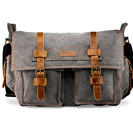 74b914bdc9b Image Unavailable. Image not available for. Color  GEARONIC 14 quot   15 quot  17 quot  Men s Messenger Bag Laptop Satchel Vintage Shoulder  Military ...