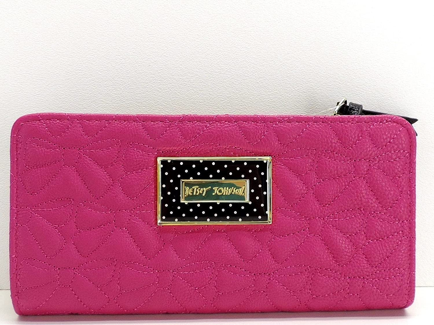 Betsey Johnson Fuschia Bifold Wallet Pink Stitched Bow Clutch