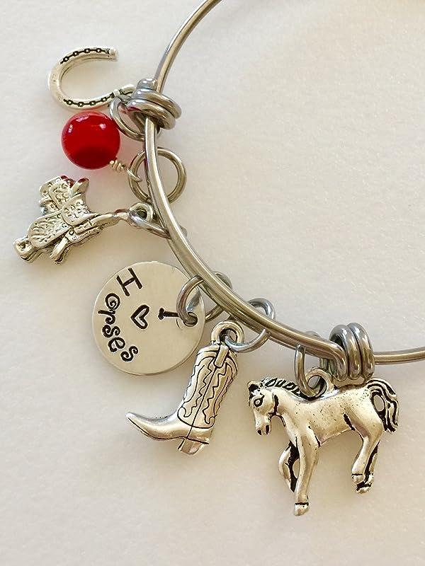 HORSE /& WESTERN JEWELLERY JEWELRY LADIES HORSE CHARM BRACELET SILVER