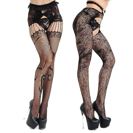 26d1bc96df3 Garters   Garter Belts Womens Lace Suspender Garter Belt Fishnet Thigh High  Stockings Set