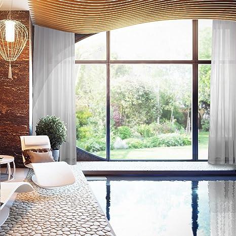 Indoor Outdoor Gradient Ombre Sheer Curtain Tab Top Grey 84quot W X 102quot L Tulle