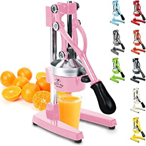 Zulay Professional Citrus Juicer - Manual Citrus Press and Orange Squeezer - Metal Lemon Squeezer - Premium Quality Heavy Duty Manual Orange Juicer and Lime Squeezer Press Stand, Pink