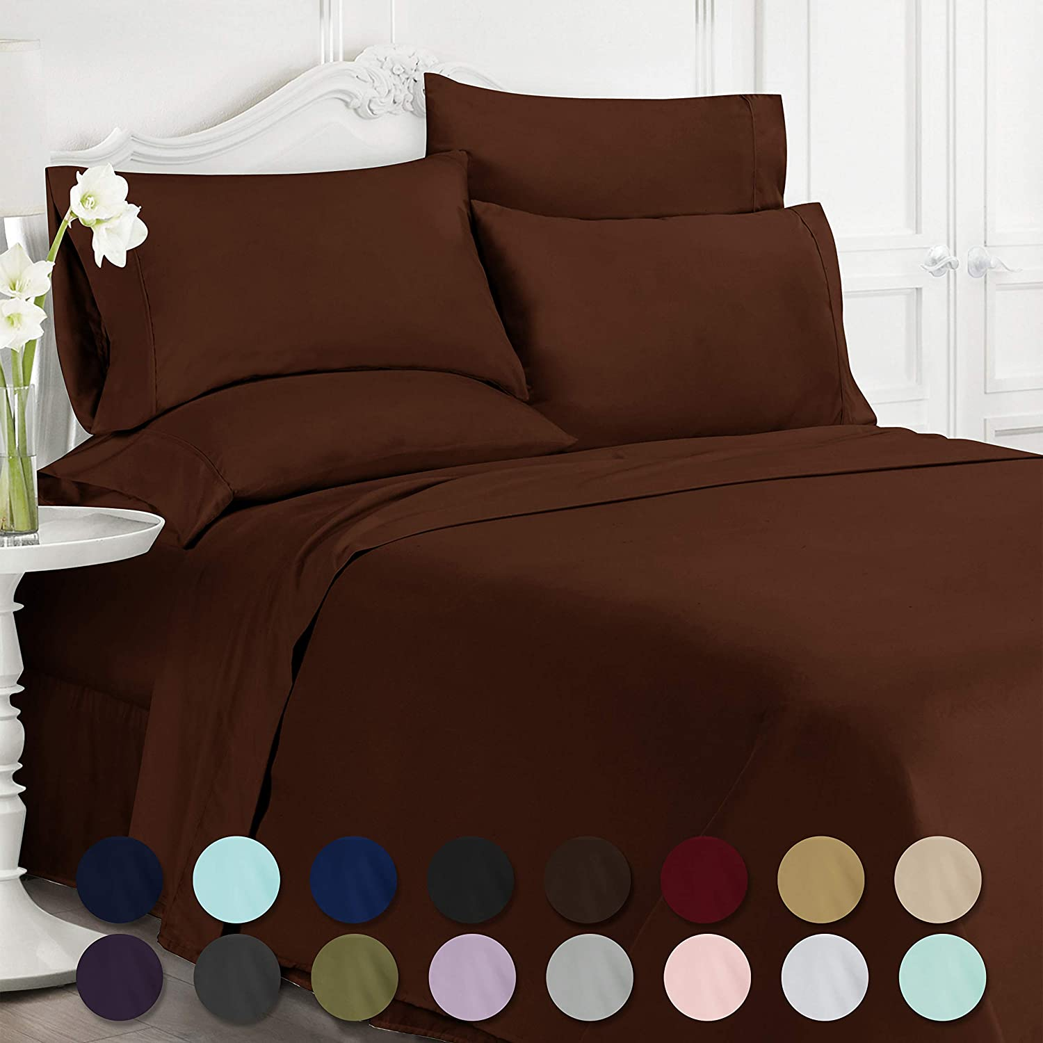 Swift Home Luxury Bedding Collection, Ultra-Soft Brushed Microfiber 6-Piece Bed Sheet Sets, Extremely Durable - Easy Fit - Wrinkle Resistant - (Includes 2 Bonus Pillowcases), Full, Brown