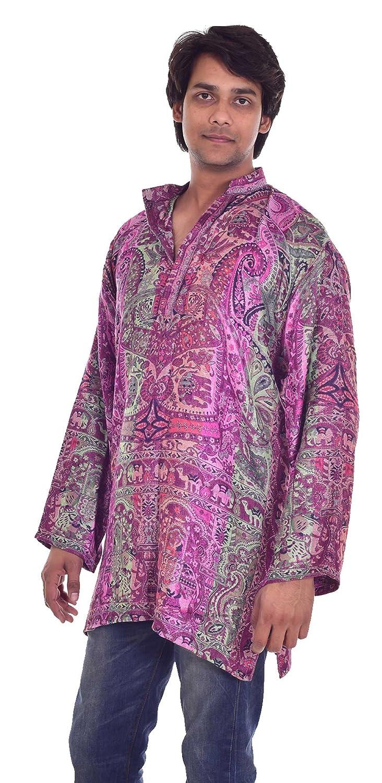 Indian Pashmina Silk Men/'s Shirt Kurta Multi Color Handloom Plus Size Loose Fit Animal Print