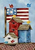 "Freedom Birdhouses Spring Garden Flag Patriotic Primitive Birds 12.5"" x 18"""