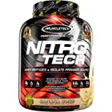 MuscleTech NitroTech Pure Whey Protein, 100% Whey Protein Powder, Whey Isolate and Whey Peptides, Banana Bliss, 4 Pound