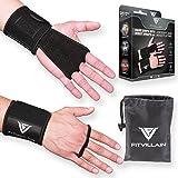 FITVILLAIN Cross Training WOD Leder-Trainingshandschuhe - 2-in-1 Handflächen-Schutz und Handgelenkbandage - Geeignet für Toe-to-Bar, Gewichtheben, Pull-up-Bar (Klimmzugstange), Fitness-Studio Workout