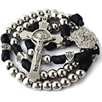 HanlinCC 10mm Stainless Steel Beads Large and Heavy Rugged Durable Paracord Rosary for Men with St.Michael Center Piece…