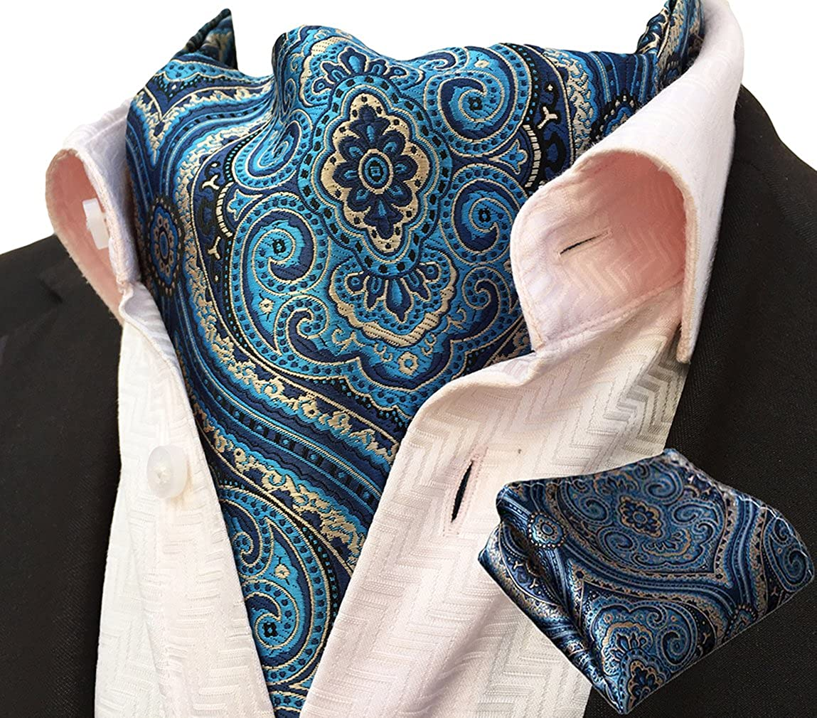 MOHSLEE Men's Blue Paisley Cravat Woven Silk Formal Ties Ascot Pocket Square Set Qa21
