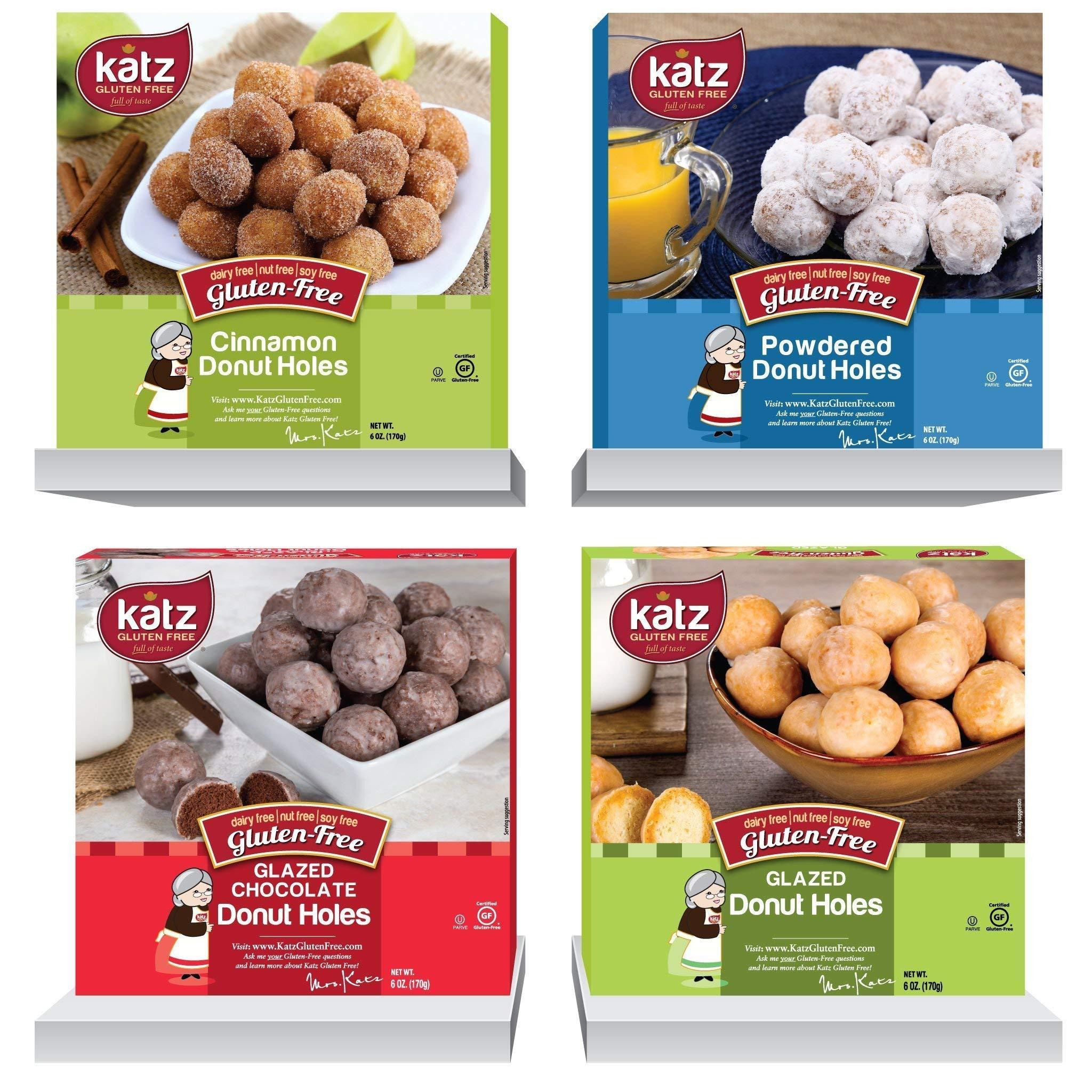 Katz Gluten Free Donut Holes Variety Pack | 1 x Powdered, 1 x Glazed, 1 x Glazed Chocolate, 1 x Cinnamon | Dairy, Nut, Soy and Gluten Free | Kosher (1 Pack of each) by Katz Gluten Free