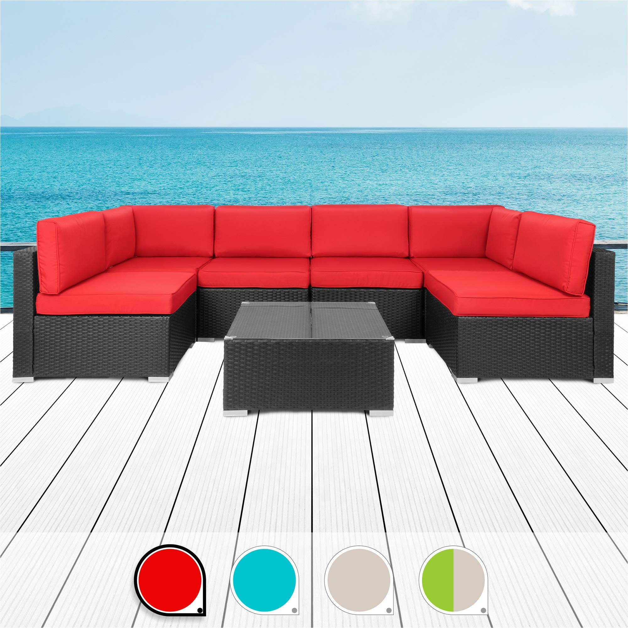Walsunny 7pcs Patio Outdoor Furniture Sets,All-Weather Rattan Sectional Sofa with Tea Table&Washable Couch Cushions (Black Rattan (Red) by Walsunny