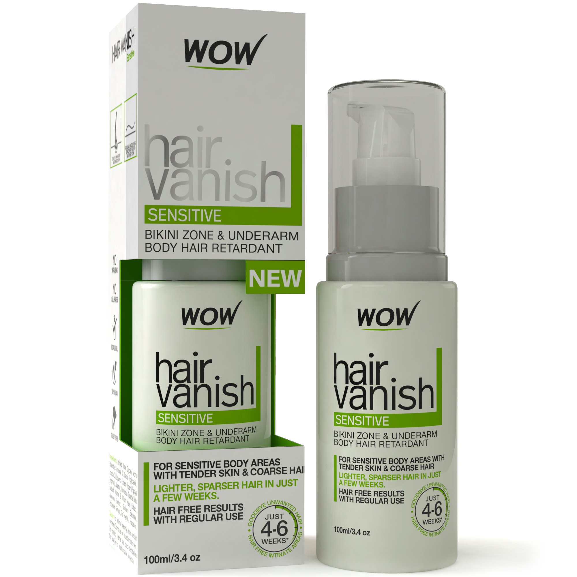 Wow Hair Vanish Sensitive - All-Natural Hair Growth Inhibitor for Sensitive Areas Like Bikini and Underarms. Reduces Unwanted Hair Re-Growth - Aloe-Vera Extract - Jojoba Oil - Vitamin E - 3.4 fl oz