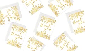 36 Gold Polite Society 24k Gold Series Thank You Cards with White Envelopes - Blank Interior Cards for Bridal, Baby Shower, Wedding and Business (36 Pack Gold Cards + Bonus Storage Box)