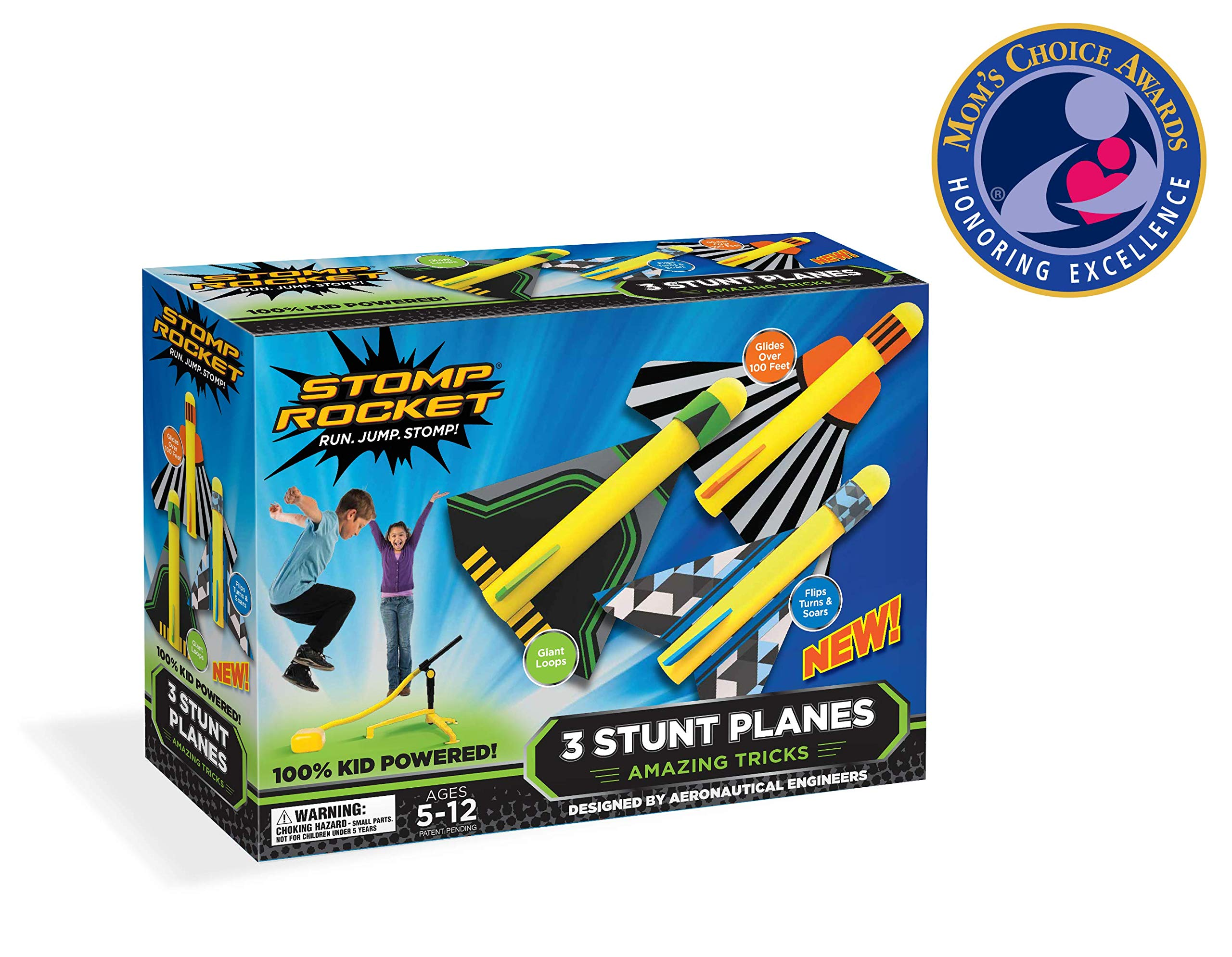 Stomp Rocket Stunt Planes - 3 Foam Plane Toys for Boys and Girls - Outdoor Rocket Toy Gift for Ages 5 (6, 7, 8) and Up by Stomp Rocket
