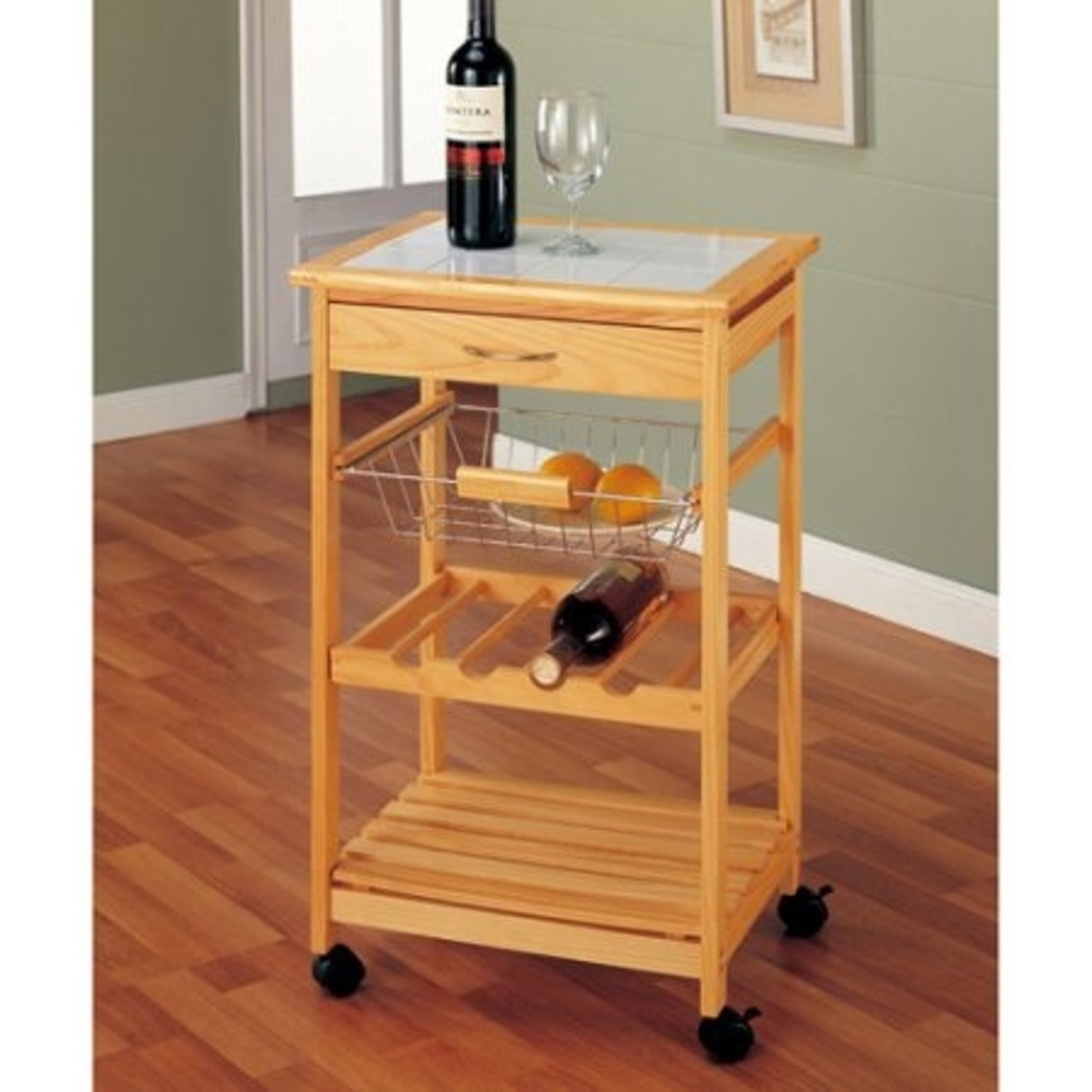 Elegant Design Wine Rack Kitchen Cart with Sturdy Metal Wire Basket