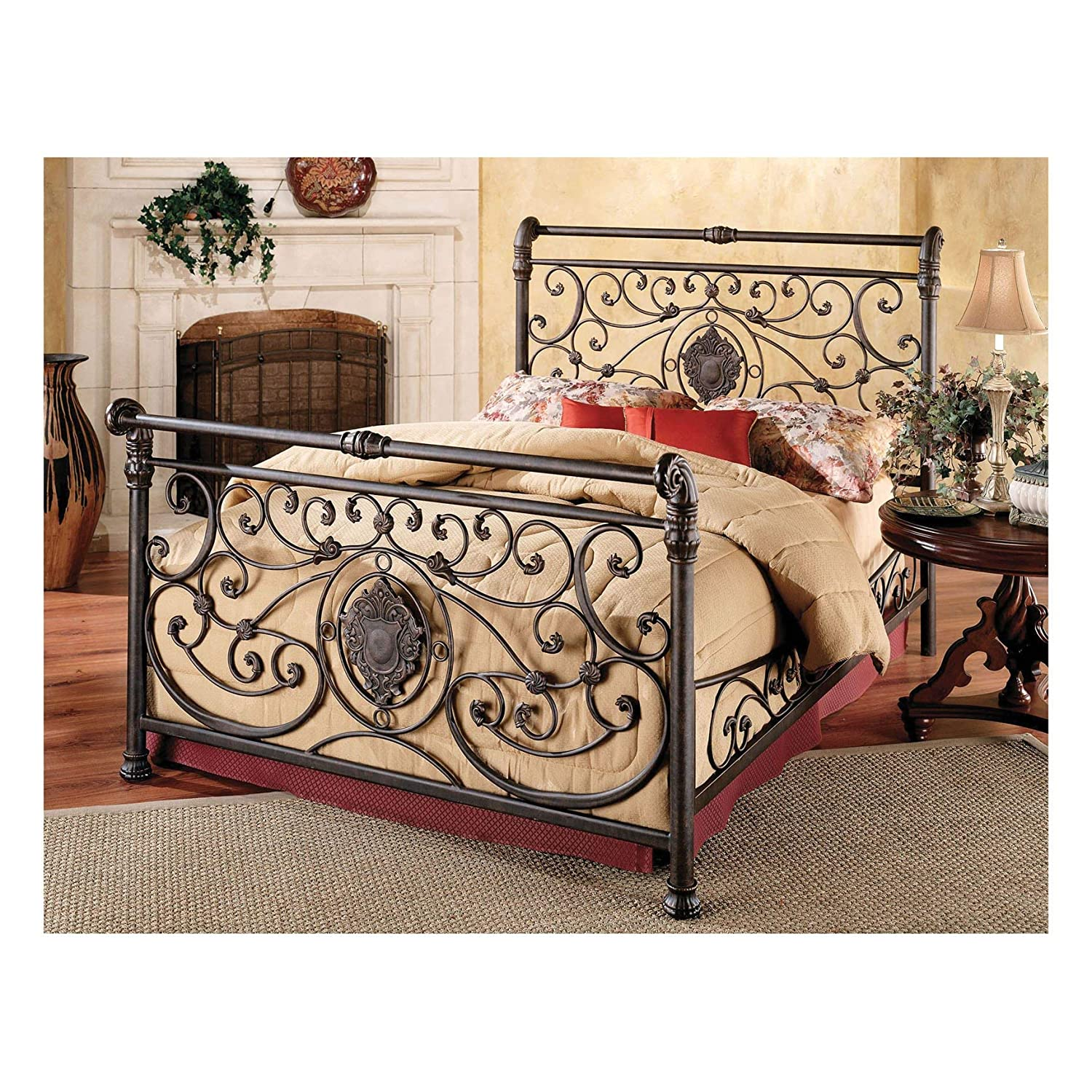 Hillsdale Furniture Mercer Bed Set with with Rails, Queen, Antique Brown