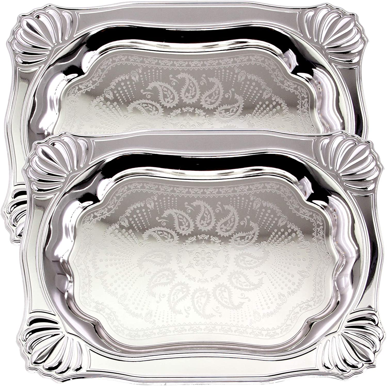 Maro Megastore (Pack of 2) 17.9 inch x 13.6 inch Oblong Chrome Plated Mirror Silver Serving Tray Stylish Design Floral Engraved Shell Edge Decorative Birthday Wedding Buffet Platter Plate TLA-271