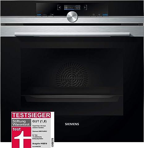 Siemens Horno eléctrico empotrable HB674GBS1 iQ700, de acero inoxidable, A+, con autolimpieza activeClean, sin precalentamiento, puerta de horno con ...