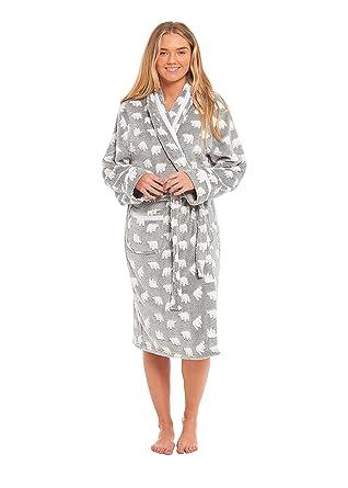 Ladies Women Polar Micro Fleece Loungewear Shawl Neck Bear Dressing Gown  House Coat WRAP Bath Robe 130b0bf50