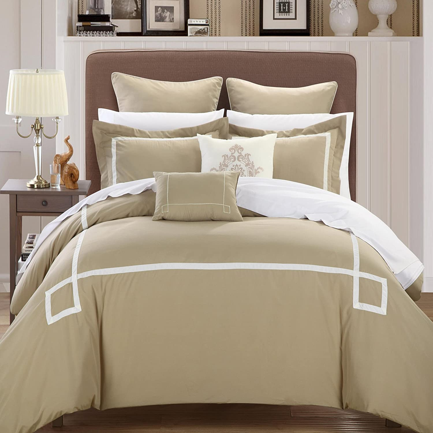 80%OFF Chic Home Woodford 7-Piece Embroidered Comforter Set, Queen, Taupe