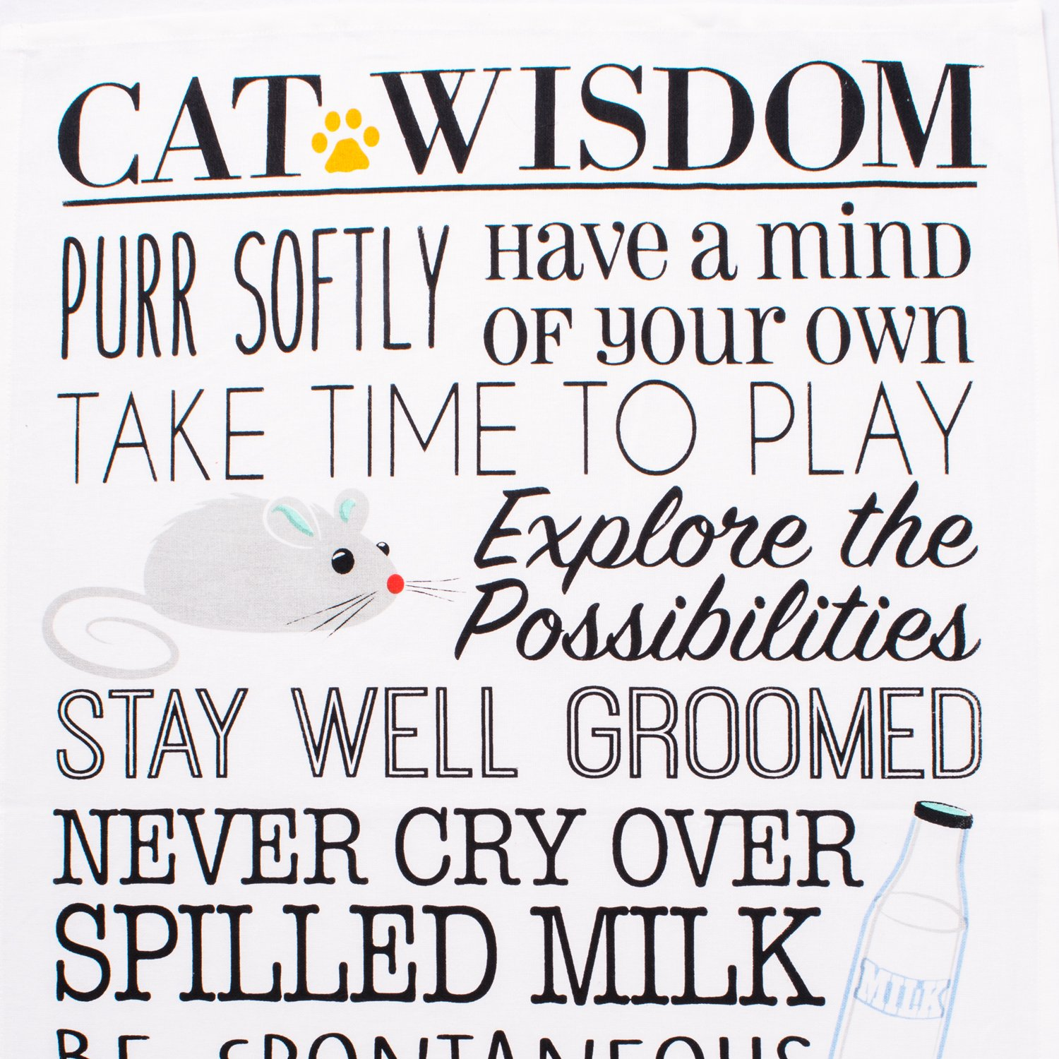 Housewarming Gift-Cat Greeting Perfect Mothers day Hostess DII Cotton Decorative Pet Lover Dish Towel 18 x 28 Set of 2 Oversized Kitchen Dish Towels
