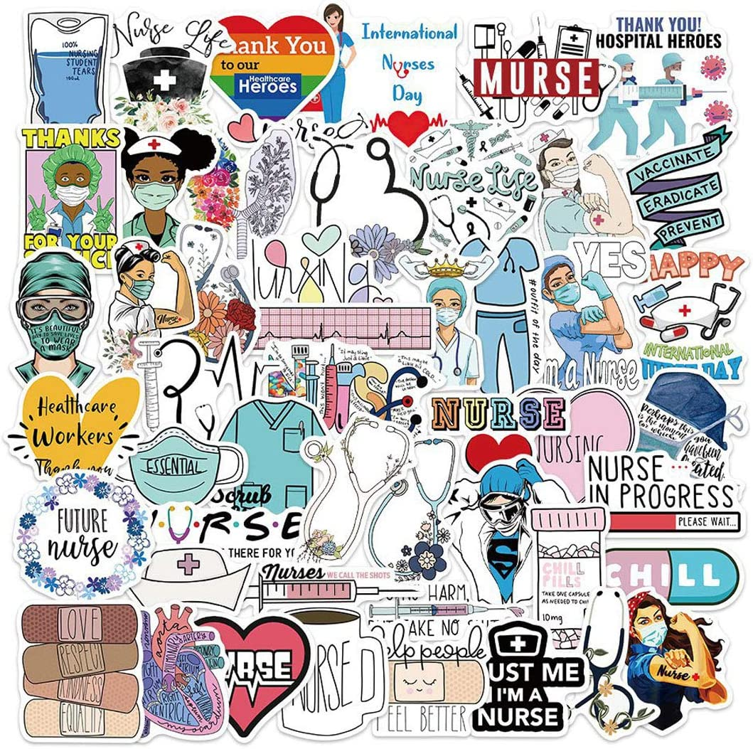 50pcs Funny Nurse Vinyl Stickers and Decals for Water Bottles Laptop Cars Planners Scrapbooking Graduation Cap Tumblers MacBook Pro Phone Yeti Cups Computer Vehicles