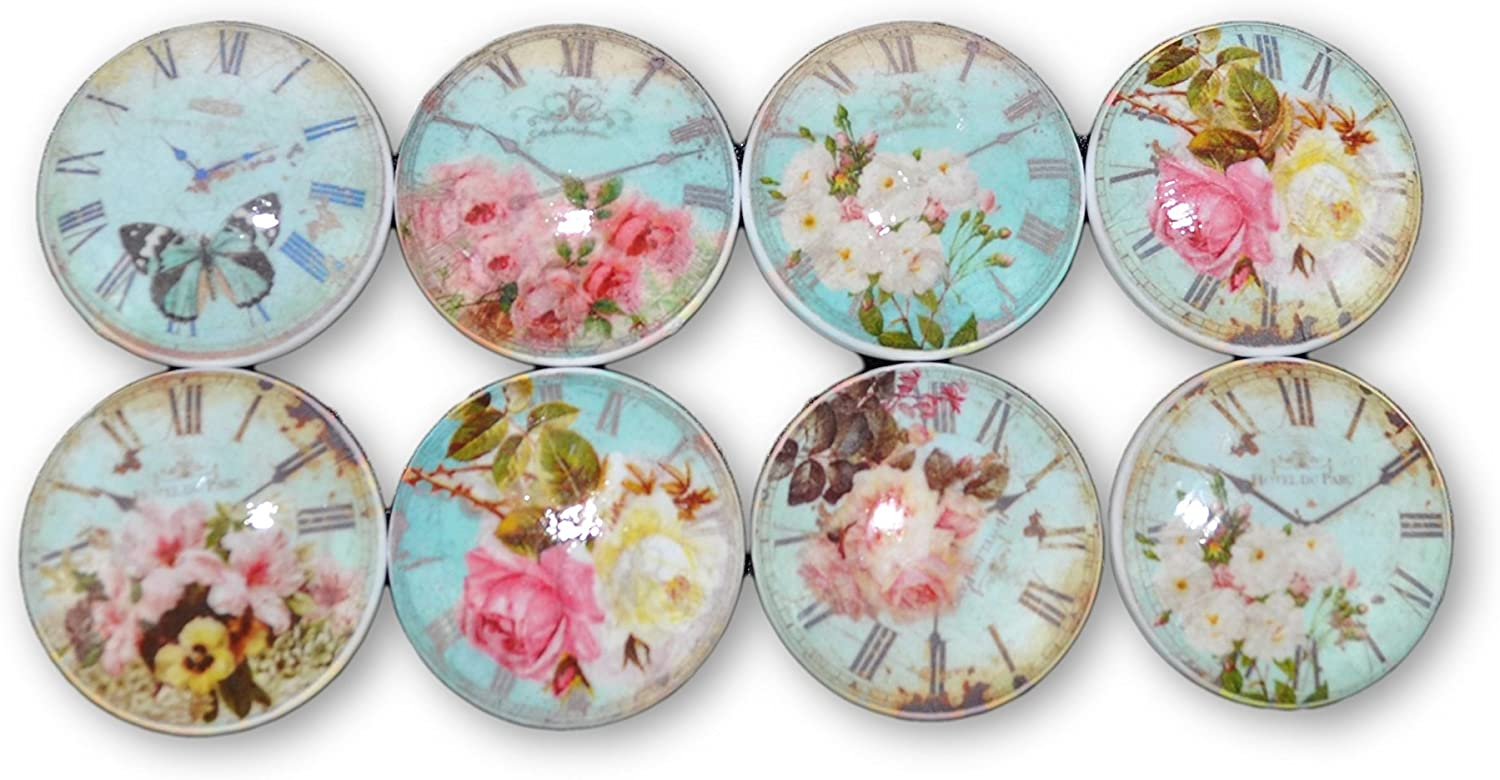 Set of 8 Blue Shabby Floral Clock Face Wood Cabinet Knobs