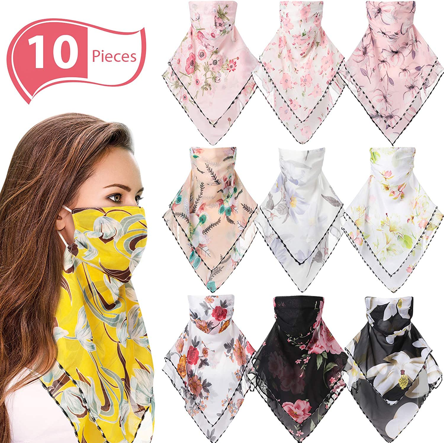 SATINIOR 10 Pack Chiffon Face Scarf Ear-Hanging Outdoor Sunscreen Headwear Breathable Bandana Neck Gaiter Sun UV Protection Face Cover for Women Outdoor Sports, As Pictures Shown, 18 x 18 inch/ 45 x 45 cm: Clothing