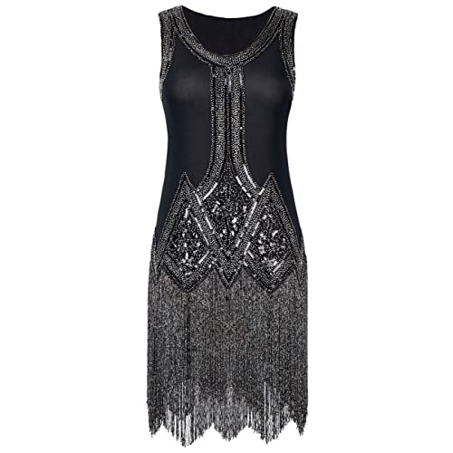 kayamiya Womens Retro Inspired 1920s Sequined Beaded Art Deco Fringe Flapper Dress