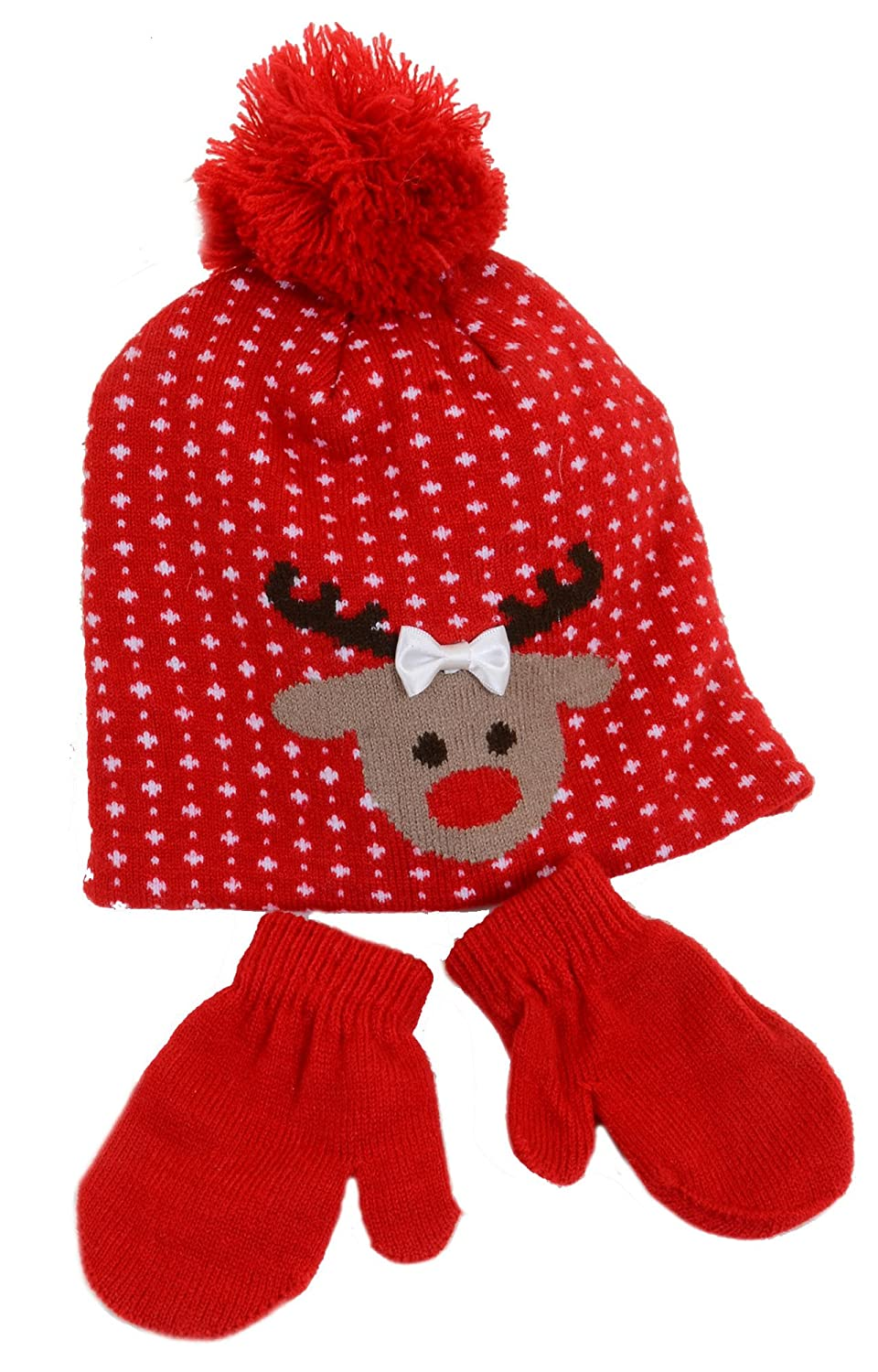 Reindeer Christmas Red Beanie Hat and Mittens Set Toddler