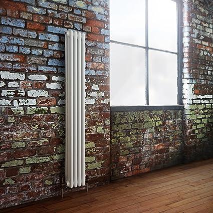 Hudson Reed Radiador Calentador Tradicional Decorativo Diseño Vertical Triple - Acero Acabado Blanco - 1500mm x