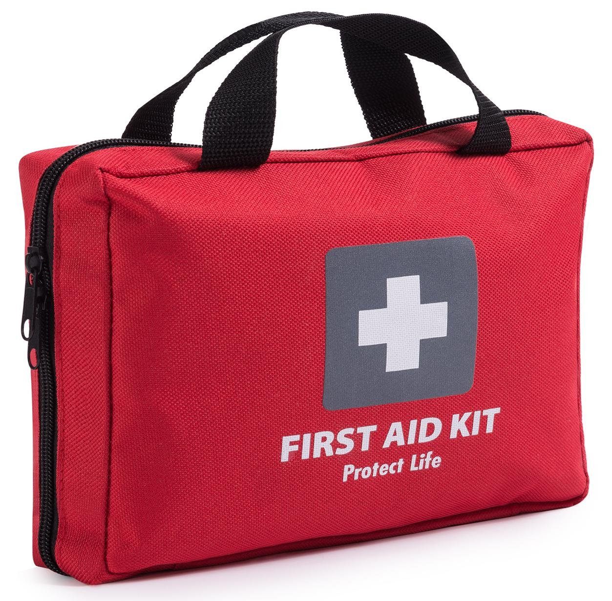 a57b66c598d Amazon.com  First Aid Kit - 200 piece - for Car, Home, Travel, Camping,  Office or Sports   Red bag w reflective cross, fully stocked with essential  supplies ...