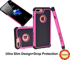 Pelotek- iPhone 7/8 Plus Hot Pink Case ✮ Heavy Duty High Impact Resistant ✮ With Hybrid Triple Layer Soft Inner Cushion ✮ Strong Scratch Resistant Attractive Pink/Black Luxury Cover (Box Pink i7/i8 Pl