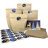 endlosschenken Adventskalender Kraftpapiertüten mit 24 Papiertüten weihnachtlichen Aufklebern zum Basteln
