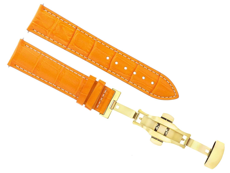 18 – 19 – 20 – 21 – 22 – 24 mmレザー腕時計バンドストラップDeployment Clasp forティソ3bゴールド 20mm Orange with white stitching  Orange with white stitching 20mm B07DHMWCT2