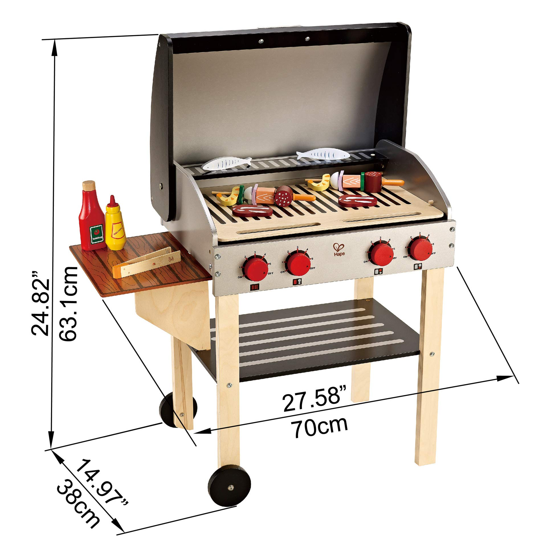 Includes Pretend Play Wooden Barbeque Food and Cook N Grill Wood Toy BBQ Set