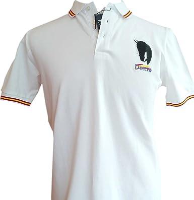 Polo Liso Bandera España ala Vaquera Mosquero (XL, Blanco): Amazon ...