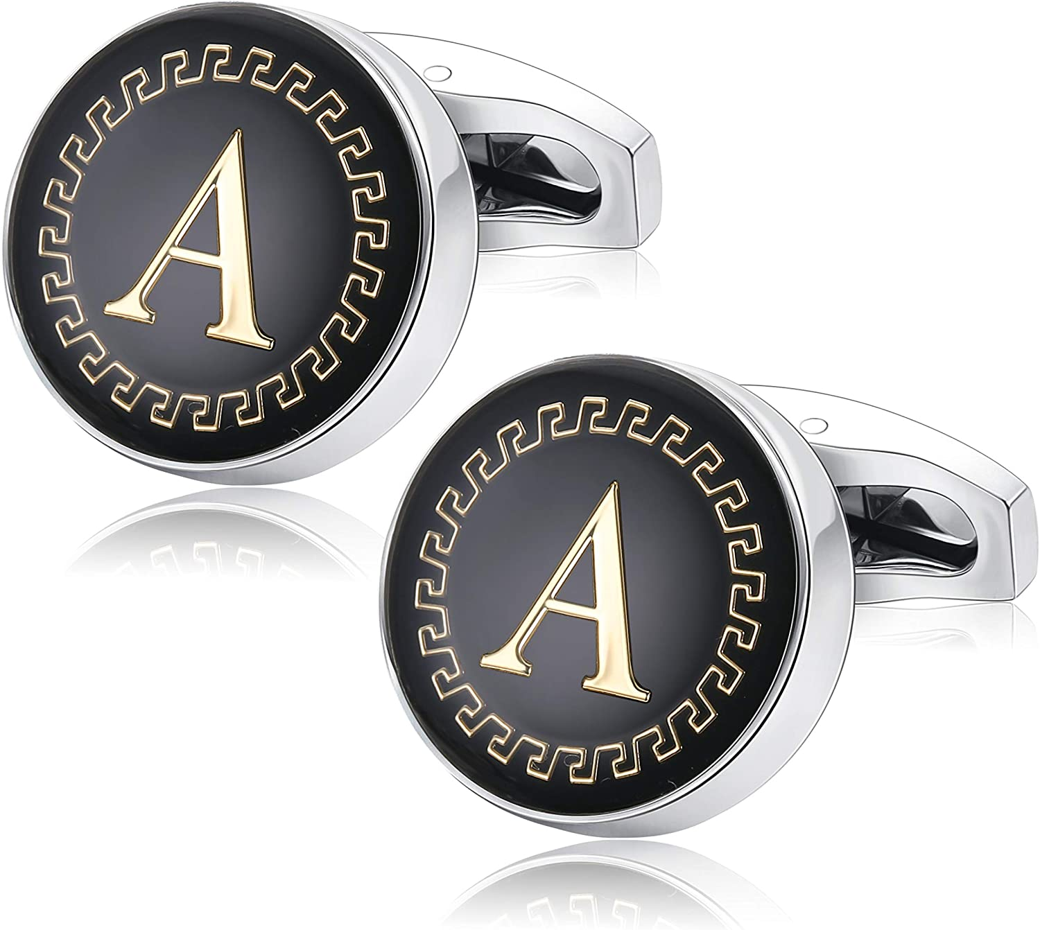 Udalyn Men's Fashion Stainless Steel Cufflinks Personalized 26 Alphabet Initial Letter Cufflinks Business Wedding Shirt Hanging A-Z