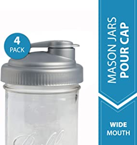 reCAP Mason Jars Lid POUR Cap, Wide Mouth, Silver – 4 Pack - BPA-Free, American Made Ball Mason Jar Lids for Preparing, Serving & Storage, Spill Proof - Made with No-Break Materials