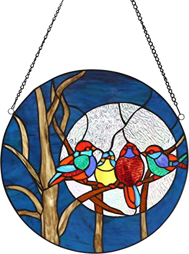 River of Goods Evening Birds 16 Inch High Round Stained Glass Window Panel Suncatcher, Blue, Brown