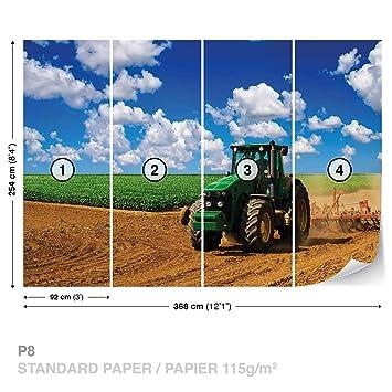 Fototapete kinderzimmer traktor  Feld Himmel Traktor Natur Fototapete Wandbild Fototapeten Bild ...