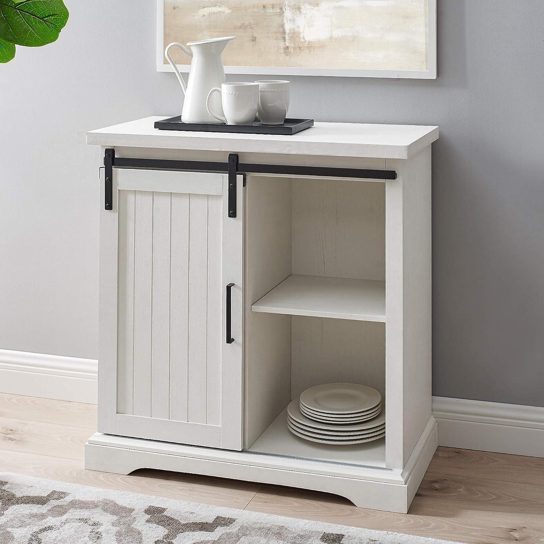 Walker Edison Barlett Modern Farmhouse Sliding Slat Door Storage Cabinet, 32 Inch, Brushed White