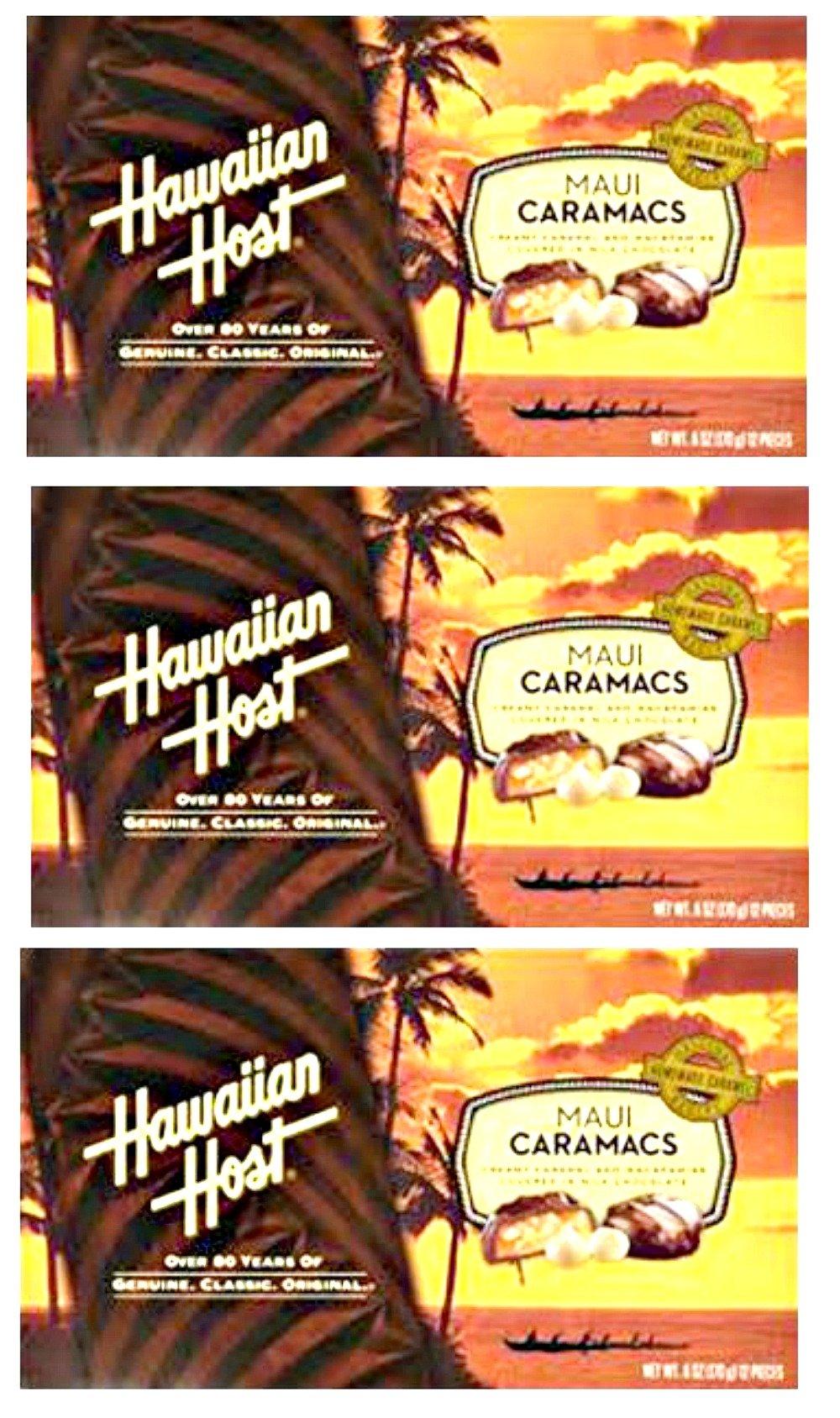 Hawaiian Host Value Pack Macadamia Nuts Maui Caramacs 3 Boxes by Hawaiian Host
