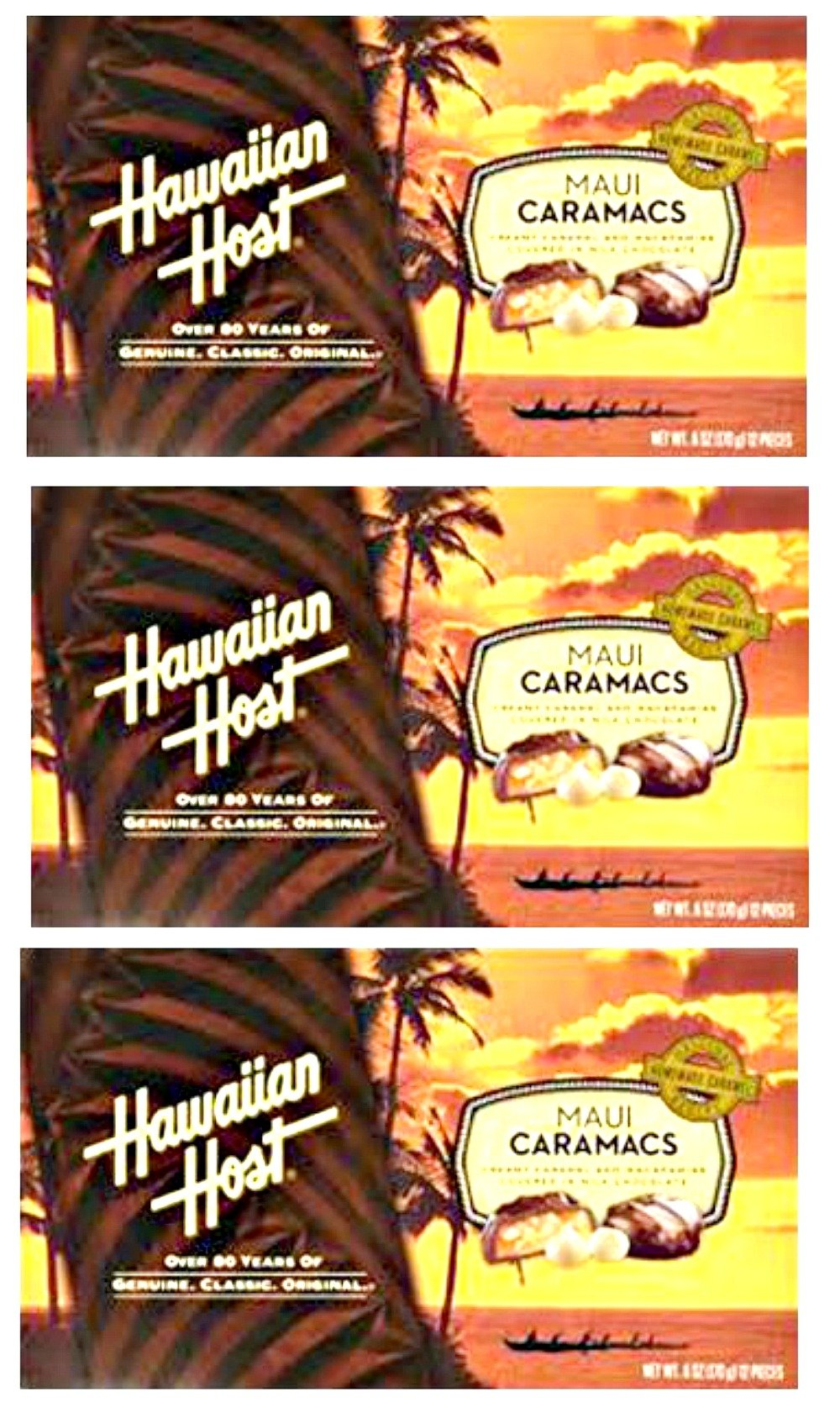 Hawaiian Host Value Pack Macadamia Nuts Maui Caramacs 3 Boxes